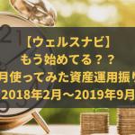 【ウェルスナビ】もう始めてる??20ヵ月使ってみた資産運用振り返り(2018年2月~2019年9月)